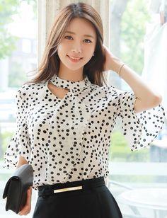 StyleOnme_Dot Patterned Cut-Out Detail Ruffle Blouse #dots #ruffle #cutout #koreanfashion #kfashion #kstyle #blouse #summerlook #seoul