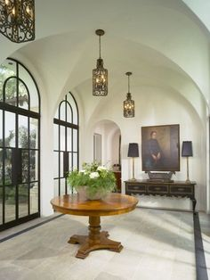 Mediterranean Home Foyer Design Ideas, Pictures, Remodel, and Decor Steel Doors And Windows, Arched Doors, Arched Windows, Ceiling Windows, Metal Windows, Black Windows, Large Windows, Lohals, Entry Way Design