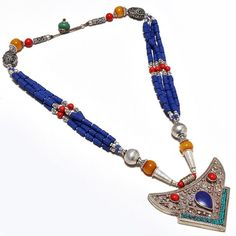Nepali Tibetan 925 Silver Overlay Necklace Natural Coral, Lapis, Opal  http://www.ebay.com/sch/kb_lifestyle/m.html?_nkw=&_armrs=1&_from=&_ipg=25&_trksid=p3692