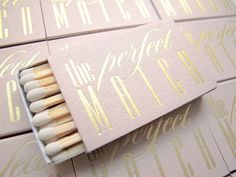 Need matchboxes fast? Our Set of 30 Shimmery Rose Gold and Gold foil The Perfect Match matchbox wedding favors are beautifully foil stamped, double