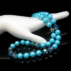 Blue Glass Large Faux Pearl Beads AB Crystals Vintage Necklace Very Pretty #Unbranded #Choker