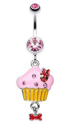 Yummy Cupcake Bow Belly Button Ring