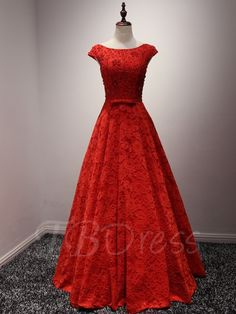 Tbdress.com offers high quality A-Line Scoop Neck Cap Sleeves Lace Beading Bow Evening Dress Vintage Evening Dresses unit price of $ 149.99.