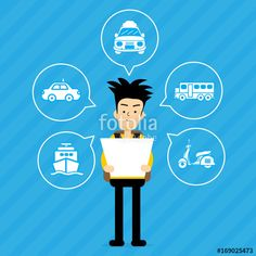 Vector: Tourists are choosing a car to travel . vector cartoon design for business travel