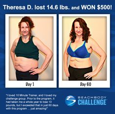 ::09/25/13:: Now you see it, now you don't! It's the story of the vanishing belly fat, starring Theresa. Brought to you by #10MinuteTrainer and the #BeachbodyChallenge. REPIN and LIKE to give her two thumbs up!