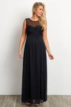 Black Mesh Neckline Ruched Bust Maternity Evening Gown