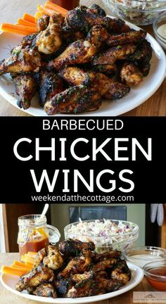 Fire up the grill and get ready for some delicious BARBECUED CHICKEN WINGS. Serve them as an appetizer, easy dinner or lunch. They are perfect at the cottage or in the city! Serve them with our homemade BBQ Sauce. #chickenwingrecipe #grilling #barbecuerecipes #holidayweekendrecipes #weekendrecipes #meatrecipes #4thofjuly #canadaday