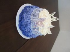 Ombre style cake with candy melt butterflies