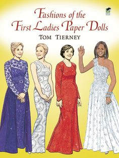 paper dolls, Tom, Tierney, Jacqueline, Jackie, Kennedy, Mamie Eisenhower, Pat Nixon, Jacqueline, Jackie, Kenndy, Onassis, Lady Bird Johnson, Pat Nixon, Betty Ford, Rosalyn Carter, Nancy Reagan, Barbara Bush, Laura Bush, Hillary Clinton, Michelle Obama is by Tom Tierney with 11 hard board paper dolls of the 1st ladies with a total of 32 costumes. It is in full color with information on each lady and costume. It is Item DOV0011 at my site at http://www.dkkdolls.com/store.