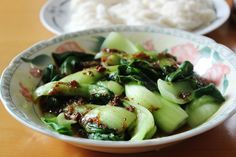 Bok choy with fried shallots and chili oil sauce - K.Chen in the ...