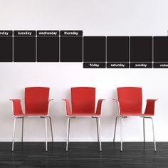 Weekly Chalkboard Calendar Wall Stickers by Wall Sticker Shop Signature. $69.99. Designed by Scribble on Everything8, 12x13.5 inch chalkboard decals8, 12x3 inch diecut days of week chalkboard decals1 Twelve pack box of dustless chalk16 decals per package