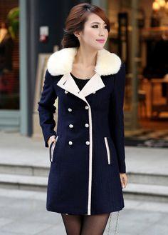 Comfy Faux Cashmere Long Coat for Woman Navy Blue