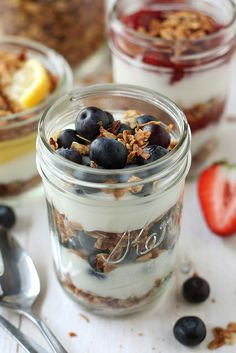 Headed to a holiday brunch gathering? Bring these Yogurt & Granola Parfaits – serve them in mini jars for a yummy, homemade treat. Via: Completely Delicious