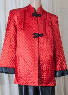 1970s Mandarin style ladies red quilted jacket w/ black frog closures. Black satin pants. Chinese style jacket set by TessiesOldOddities on Etsy