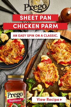 Sheet Pan Chicken Parmesan with Roasted Cauliflower Cooking Recipes, Healthy Recipes, Healthy Meals, Crockpot Recipes, Yummy Food, Good Food, Tasty, Easy Dinner Recipes, Dinner Ideas