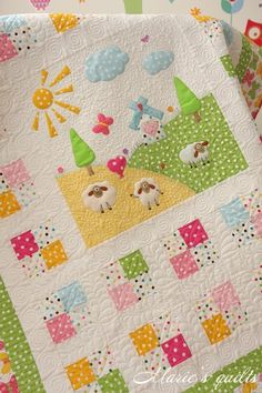 Marie's quilts: Pastorale # 3. This woman lives in Russia and is very inspiring in her bright, happy work.