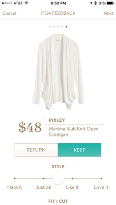 Stitch fix: I like how this is a lightweight cardigan in a versatile color. It would be great for the office this summer if I get cool.