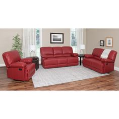 CorLiving Lea 3 Piece Bonded Leather Reclining Sofa Set - LZY-301-Z1