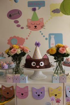 50th Birthday Party Decorations, 2nd Birthday Parties, Birthday Ideas, Girl Birthday Party Themes, Birthday Crafts, Kitten Party, Cat Party, Cat Themed Parties, Cat Birthday