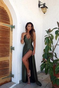 Cheap Olive Green Backless Split Elegant Simple Prom Party Dress V-Neck Long Floor Length Evening Gowns,Custom Made High Quality Long Dress · SofieDress · Online Store Powered by Storenvy Split Prom Dresses, Prom Dresses 2018, Elegant Prom Dresses, Backless Prom Dresses, Cheap Prom Dresses, Prom Party Dresses, Sexy Dresses, Beautiful Dresses, Party Gowns
