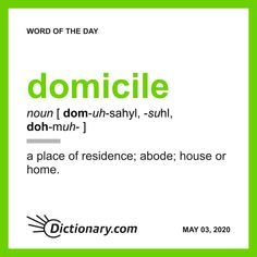 Word of the Day - domicile Fancy Words, More Words, New Words, English Spelling, English Words, English Grammar, English Vinglish, English Vocabulary, English Language