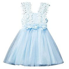 82263f0825a Csbks Toddler Girls Princess Flower Dress Lace Tulle Tutu Party Dresses  Light Blue    Find out more about the great product at the image link.