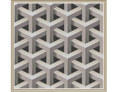 Geometric 9 - Lattice x-stitch pattern, $5.00 (modern, rainbow, abstract)