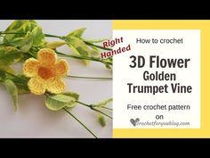 How to Crochet Flower Golden Trumpet Vine Left Handed - Modern Crochet Flower Tutorial, Crochet Flower Patterns, Crochet Stitches Patterns, Crochet Flowers, Crochet Bookmark Pattern, Crochet Bookmarks, Crochet Bee, Free Crochet, Left Handed Crochet