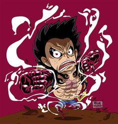 Illustration of Chibi Luffy Gear Fourth - One piece