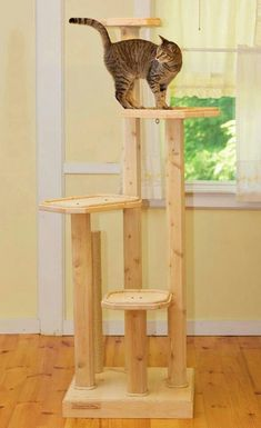 Solid Wood Cat Tree - Six Foot Four Level Cat Tree with Sisal or Manila Rope Scratching Post - All N Diy Pour Chien, Cat Scratching Tree, Scratching Post, Cedar Posts, Diy Cat Tree, Wood Cat, Wooden Cat Tree, Tree Furniture, Furniture Design
