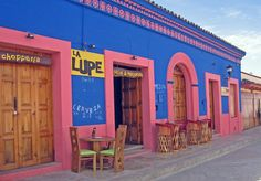 San Cristobal, Mexico. Outdoor seating is the norm and La Lupe offers tacos, Margaritas, mezcal and 2-for-1 beers. WiFi is available also.