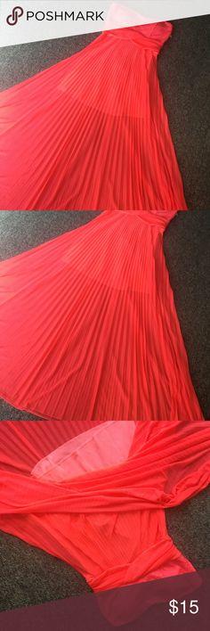 Dress Bright peach strapless dress Dresses Strapless