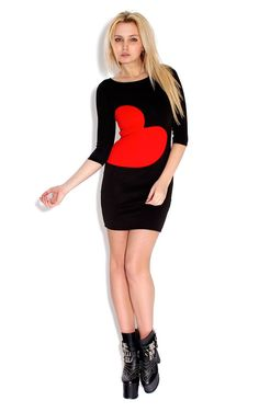 Red Love Heart Bodycon dress