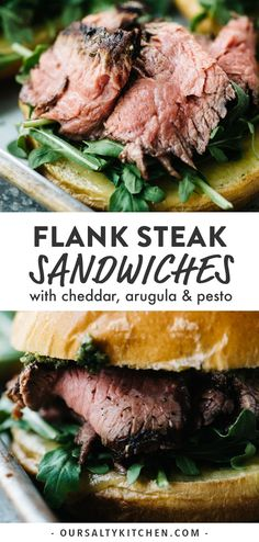 This is the ultimate summer steak sandwich! Tender grilled flank steak, sharp cheddar, arugula, and pesto are piled high on a buttery brioche bun. Gourmet flavor made at home! These steak sandwiches are perfect for a quick and easy dinner, a packed lunch (the steak is delicious cold), or to serve a crowd at your next party or backyard BBQ. #sandwiches #steak #steaksandwiches #grilling