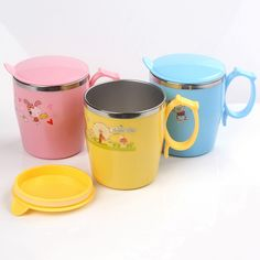 Child Insulation Cup Kids Portable Travel Cute Stainless Steel Milk Bottle Cartoon Design Water Cup with Lid Blue Yellow Pink