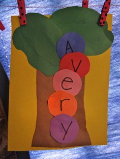 Chicka Chicka Boom Boom preschool art.  We read the book then did this name recognition construction paper art. :)  other activities on https://www.facebook.com/dawnsdesigns22