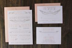 Printable Vintage Modern Wedding Invitation by Bejoyfulpaper