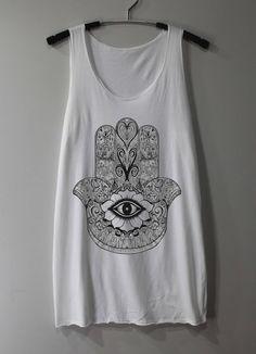 HAMSA HAND Shirt Hand of Fatima Shirts Tank Top Tunic TShirt T Shirt Singlet - Size S M L