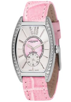 Price:$98.00 #watches Akribos XXIV AK471PK, This Akribos XXIV women's watch is sure to be a great addition to your wardrobe with its mother of pearl center dial encircled with genuine diamonds and outer sunray dial. This watch features a large Roman numeral 12 with inlaid diamonds.