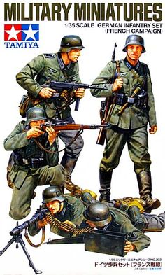 Buy Tamiya German Infantry (French Campaign) Figure Set Model Kit at Mighty Ape NZ. High-quality figure set depicts a squad of German infantrymen in action during the Battle for France in Set includes: 1 office. Tamiya Model Kits, Tamiya Models, Military Figures, Military Art, Plastic Model Kits, Plastic Models, Us Army Infantry, The Rifleman, Mini 4wd