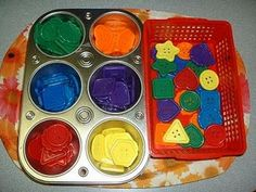 I like the muffin tin for sorting activities