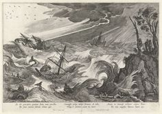 Theodore Galle /Jodocus de Momper - Tempest with Sea Monsters, copper engraving, Late or early century. Engraving Printing, Sea Serpent, Sea Monsters, Cartography, Gravure, Four Seasons, Graphic Art, Medieval, Black And White