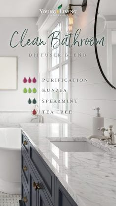 Banish the harsh chemical air fresheners to eliminate odors in the bathroom. This clean smelling diffuser blend will do the trick, naturally. Yl Essential Oils, Essential Oil Diffuser Blends, Young Living Essential Oils, Yl Oils, Young Living Diffuser, Young Living Oils, Doterra, Bathroom Cleaning, Trees