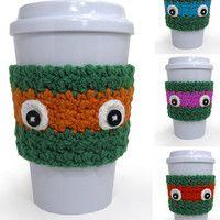 SET OF 4 Crochet Ninja Turtle Inspired Coffee Cup Cozy