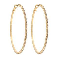 Roberta Chiarella Big Crystal Hoop Earrings ($68) ❤ liked on Polyvore featuring jewelry, earrings, accessories, bijoux, brincos, women, sparkly earrings, crystal jewellery, white jewelry and sparkle jewelry