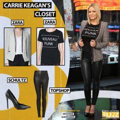 Top: Zara Grunge & Punk T-Shirt - $17 Blazer: Zara Knitted Blazer With Metallic Lapels - $60 Pant: Topshop 'Gabriella' Stretch Faux Leather Pants - $64 Pumps: Schultz Gilberta -$200 Chelsea Lately, Greg Gutfeld, Knit Blazer, Faux Leather Pants, Get The Look, Carry On, Topshop, Zara, Punk