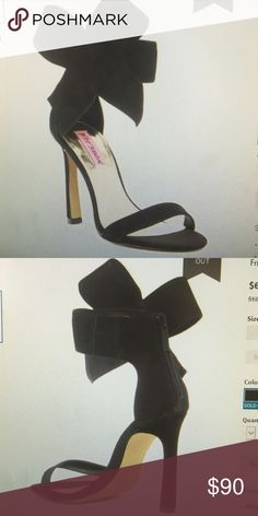 Betsy Johnson Friskyy Ankle Bow Sandal Super cute black sandal with ankle bow. Heel is 4.5 inches and runs narrow. New/ never worn, in box. Betsey Johnson Shoes Sandals
