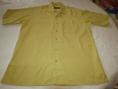 Bugatchi Umo Mens gold yellow multi short sleeve button up shirt M EUC @ #BugatchiUomo #ButtonFront