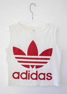 ADIDAS Vintage Logo Crop Top by SilkShaman on Etsy