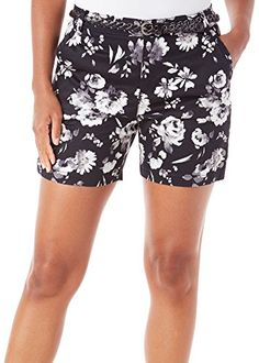 Gloria Vanderbilt Womens Nimah Sateen Rose Shorts 10 Black ** You can find out more details at the link of the image. (This is an affiliate link) Short Women Fashion, Womens Fashion, Spring Shorts, Belted Shorts, Gloria Vanderbilt, Summer Garden, Short Outfits, Casual Shorts, Black And White
